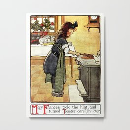 Mary Frances making toast Metal Print
