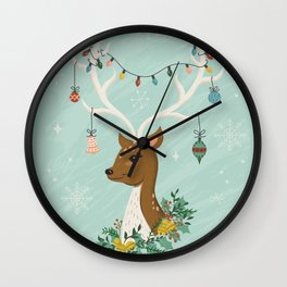Vintage Inspired Deer with Decorations Wall Clock