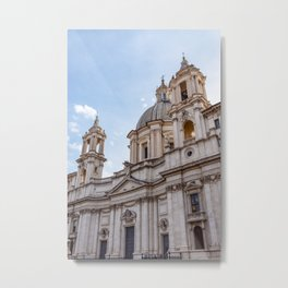 Sant Agnese Church in the Piazza Navona - Rome, Italy Metal Print