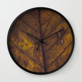 Close up for a dry leaf Wall Clock