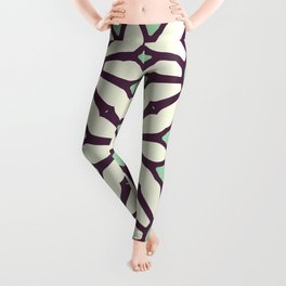 Bold and Kitschy Mid Century Pattern in White and Aqua Leggings