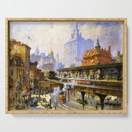 Elevated Subway at Chatham Square New York City landscape painting by Colin Campbell Cooper  Serving Tray