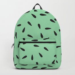 Watermelon Seeds on Pastel Green Background Backpack