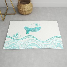 Doodle fish jumping out of the water Maritime Rug