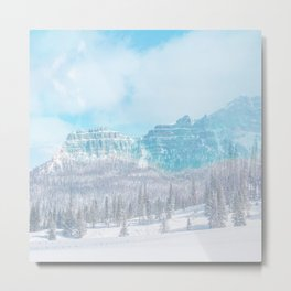 winter powder blue muted mountain aesthetic landscape art altered photography Metal Print