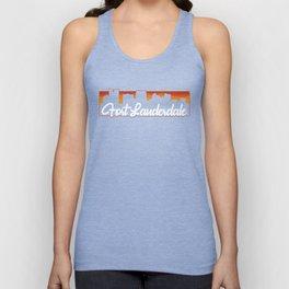 Vintage Fort Lauderdale Florida Sunset Skyline T-Shirt Unisex Tank Top