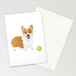 Corgi Dog with a Green Ball Stationery Cards