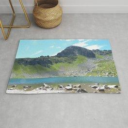 Mountain Stream Alpine landscape Rug