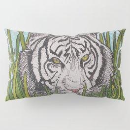 White tiger in wild grass Pillow Sham