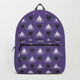 Ornament medallions - Black and white fractals on ultra violet Backpack