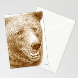 Brown bear is happy Stationery Cards