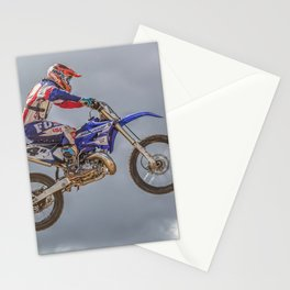 Action motocross biker in blue and red Stationery Cards