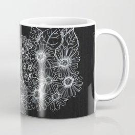 White on Black Botanical Illustration Coffee Mug