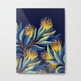 Pohutukawa - Yellow / Blue Metal Print