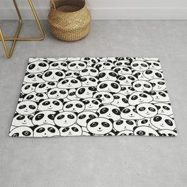 Panda Crowd Pandas Faces Cute Cartoon Pattern Rug
