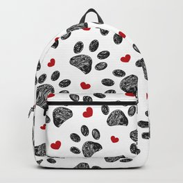 Seamless black paw print with red hearts Backpack