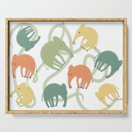 Multi-Colored Elephants Serving Tray