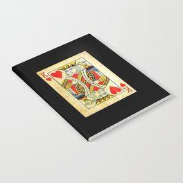 King Of Hearts Card Deck Old Notebook