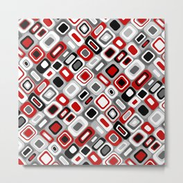 Diagonal Mid Century Modern Squares and Rectangles // Red, Gray Black, White Metal Print