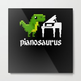 Pianosaurus Piano Pixel Dinosaur Dino Metal Print