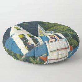 Edward Hopper - Second Story Sunlight - Minimalist Exhibition Art Poster Floor Pillow
