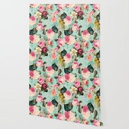Vintage & Shabby Chic - Summer Teal Roses Flower Garden Wallpaper