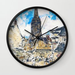 Eugene Louis Boudin - The Steeple Of St. Catherine - Digital Remastered Edition Wall Clock