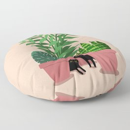 Black Cats & Potted Plants Floor Pillow