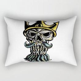 Skull of Neptune Trident Crown Head  Woodcut Rectangular Pillow