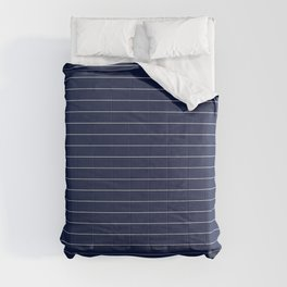 Navy Blue Pinstripe Line Stripe Minimal Stripes Lines Comforters
