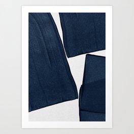 Minimalist Painting Blue III, Mid Century Modern Art Print