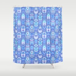 Beetles in Blue Shower Curtain