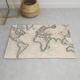Vintage Map of The Worlds Magnetic Fields (1852) Rug