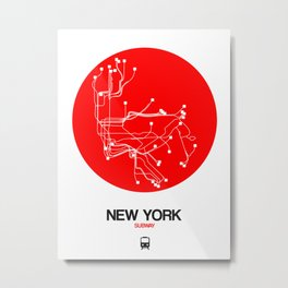 New York Red Subway Map Metal Print