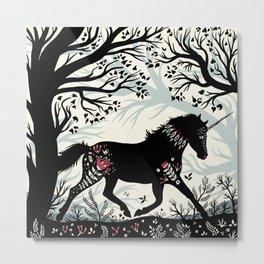 Folk Unicorn Metal Print