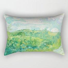 Green Wheat Fields - Auvers, by Vincent van Gogh Rectangular Pillow