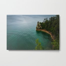 Pictures USA Pictured Rocks National Lakeshore Rock Nature Forests Coast Crag Cliff forest Metal Print