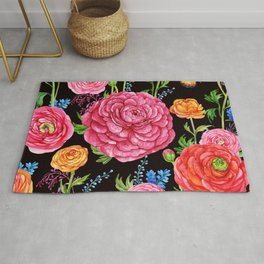 Contemporary Pink, Red & Gold Floral Pattern With Butterfly Rug