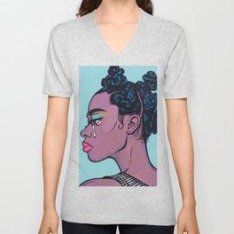 Black Crying Comic Girl Unisex V-Neck