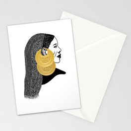 Girl with القمر بوبا earrings Stationery Cards