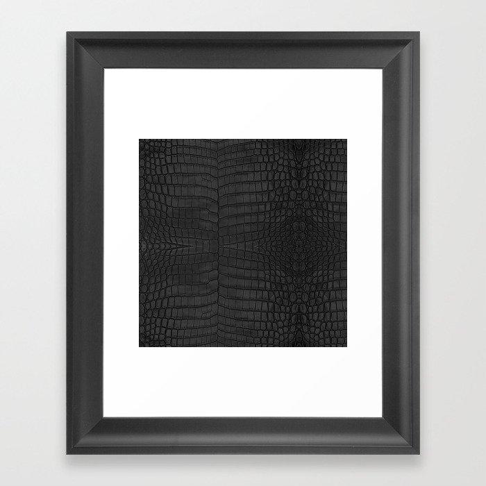 Black Crocodile Leather Print Gerahmter Kunstdruck