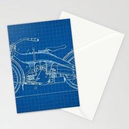1919 Blue Horizontal Motorcycle Patent Blueprint Stationery Cards