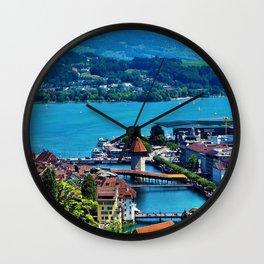 Lake Lucerne, Switzerland Chapel Covered Bridge Wall Clock