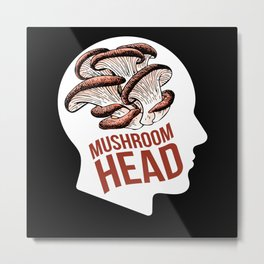 Mushroom Head Mushroom Collecting Fungi Metal Print