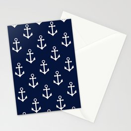 Navy Blue Nautical Anchor Pattern Stationery Cards
