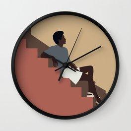 Terracotta Mood. Minimalist illustration Wall Clock