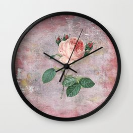 Vintage & Shabby Chic - Rose on pink grunge background  - Roses and flowers garden Wall Clock