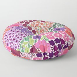 471-Vibrant color hand drawn cute ditsy floral pattern Floor Pillow