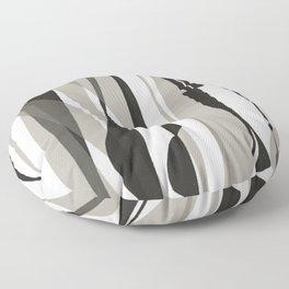 Moon Lit Ripples - Black & White Minimalism Floor Pillow
