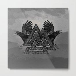 Valknut Symbol and Ravens Metal Print